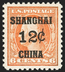 Sale Number 1150, Lot Number 1144, Offices in China12c on 6c Offices in China (K6), 12c on 6c Offices in China (K6)