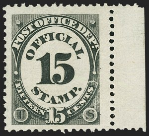 Sale Number 1150, Lot Number 1169, Officials: Agriculture thru Post Office15c Post Office (O53), 15c Post Office (O53)