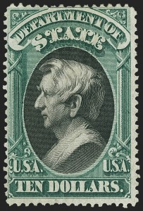 Sale Number 1150, Lot Number 1191, Officials: State Department$10.00 State (O70), $10.00 State (O70)