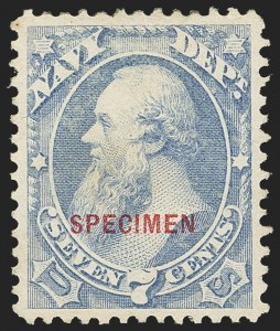 Sale Number 1150, Lot Number 1227, Officials: Special Printings7c Navy, Specimen Ovpt. (O39S), 7c Navy, Specimen Ovpt. (O39S)