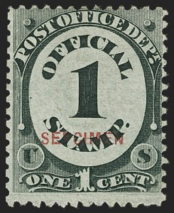 "Sale Number 1150, Lot Number 1228, Officials: Special Printings1c Post Office, ""Sepcimen"" Error (O47Sa), 1c Post Office, ""Sepcimen"" Error (O47Sa)"