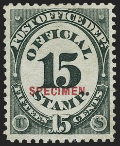 Sale Number 1150, Lot Number 1229, Officials: Special Printings15c Post Office, Specimen Ovpt. (O53S), 15c Post Office, Specimen Ovpt. (O53S)