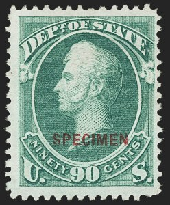 Sale Number 1150, Lot Number 1232, Officials: Special Printings90c State, Specimen Ovpt. (O67S), 90c State, Specimen Ovpt. (O67S)
