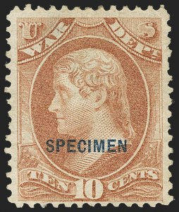 Sale Number 1150, Lot Number 1233, Officials: Special Printings10c War, Specimen Ovpt. (O88S), 10c War, Specimen Ovpt. (O88S)