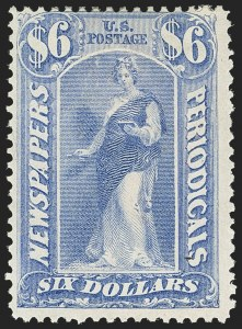 Sale Number 1150, Lot Number 1238, Newspapers and Periodicals: 1875 Issue$6.00 Ultramarine, 1875 Issue (PR26), $6.00 Ultramarine, 1875 Issue (PR26)