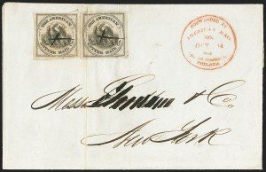 Sale Number 1150, Lot Number 1312, Local Posts and Independent Mails: American Letter thru Penny Express Co.American Letter Mail Co., (5c) Black on Gray (5L2), American Letter Mail Co., (5c) Black on Gray (5L2)