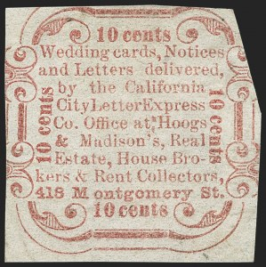 Sale Number 1150, Lot Number 1317, Local Posts and Independent Mails: American Letter thru Penny Express Co.California City Letter Express Co., San Francisco, 10c Red (33L1), California City Letter Express Co., San Francisco, 10c Red (33L1)