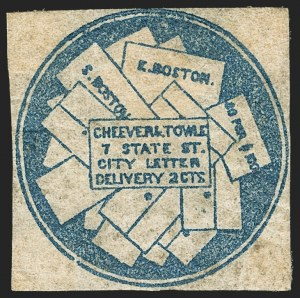 Sale Number 1150, Lot Number 1318, Local Posts and Independent Mails: American Letter thru Penny Express Co.Cheever & Towle, Boston Mass., 2c Blue (37L1), Cheever & Towle, Boston Mass., 2c Blue (37L1)