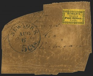 Sale Number 1150, Lot Number 1320, Local Posts and Independent Mails: American Letter thru Penny Express Co.Homan's Branch Post Office, New York N.Y., (unstated value) Black on Yellow (unlisted), Homan's Branch Post Office, New York N.Y., (unstated value) Black on Yellow (unlisted)