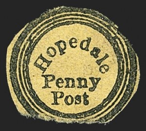 Sale Number 1150, Lot Number 1321, Local Posts and Independent Mails: American Letter thru Penny Express Co.Hopedale Penny Post, Milford Mass., (1c) Black on Yellow Wove (84L3), Hopedale Penny Post, Milford Mass., (1c) Black on Yellow Wove (84L3)