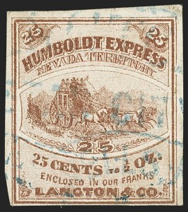 Sale Number 1150, Lot Number 1323, Local Posts and Independent Mails: American Letter thru Penny Express Co.Humboldt Express (Langton's), Nevada, 25c Brown (86L1), Humboldt Express (Langton's), Nevada, 25c Brown (86L1)