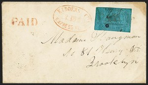 Sale Number 1150, Lot Number 1324, Local Posts and Independent Mails: American Letter thru Penny Express Co.Kidder's City Express Post, Brooklyn N.Y., 2c Black on Pale Blue Glazed (93L1), Kidder's City Express Post, Brooklyn N.Y., 2c Black on Pale Blue Glazed (93L1)