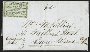 Sale Number 1150, Lot Number 1325, Local Posts and Independent Mails: American Letter thru Penny Express Co.Moore's Newspaper & Parcel Express, Daily, between Cape May and Philadelphia, Moore's Newspaper & Parcel Express, Daily, between Cape May and Philadelphia