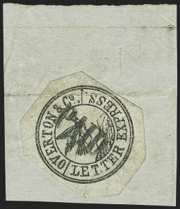 Sale Number 1150, Lot Number 1326, Local Posts and Independent Mails: American Letter thru Penny Express Co.Overton & Co., (5c) Black on Greenish (113L1), Overton & Co., (5c) Black on Greenish (113L1)