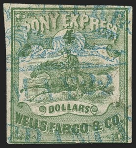 Sale Number 1150, Lot Number 1331, Local Posts and Independent Mails: Spaulding`s thru WymanWells, Fargo & Co. Pony Express, $4.00 Green (143L2), Wells, Fargo & Co. Pony Express, $4.00 Green (143L2)