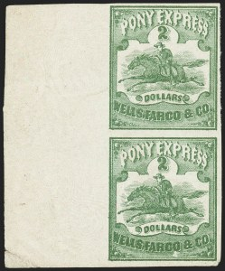 Sale Number 1150, Lot Number 1333, Local Posts and Independent Mails: Spaulding`s thru WymanWells, Fargo & Co. Pony Express, $2.00 Green (143L4), Wells, Fargo & Co. Pony Express, $2.00 Green (143L4)
