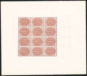 Sale Number 1150, Lot Number 503, Postmasters ProvisionalsProvidence R.I., 5c-10c Brown Carmine, Trial Color Plate Proof on Card (10X1-10X2TC4), Providence R.I., 5c-10c Brown Carmine, Trial Color Plate Proof on Card (10X1-10X2TC4)