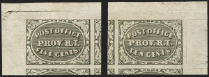 Sale Number 1150, Lot Number 504, Postmasters ProvisionalsProvidence, Rhode Island, 5c, 10c Gray Black (10X1-10X2), Providence, Rhode Island, 5c, 10c Gray Black (10X1-10X2)