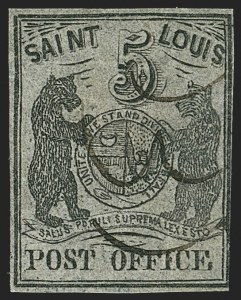 Sale Number 1150, Lot Number 509, Postmasters ProvisionalsSt. Louis Mo., 5c Black on Bluish (11X7), St. Louis Mo., 5c Black on Bluish (11X7)