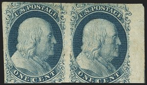Sale Number 1150, Lot Number 544, 1c 1851-56 Issue (Scott 5-9)1c Blue, Ty. II, Plate 3 (7), 1c Blue, Ty. II, Plate 3 (7)