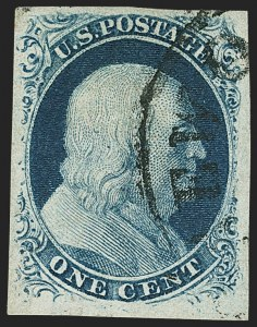 Sale Number 1150, Lot Number 547, 1c 1851-56 Issue (Scott 5-9)1c Blue, Ty. III, Position 99R2 (8), 1c Blue, Ty. III, Position 99R2 (8)