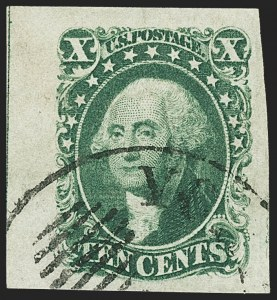 Sale Number 1150, Lot Number 577, 10c-12c 1851-56 Issue (Scott 13-17)10c Green, Ty. II (14), 10c Green, Ty. II (14)