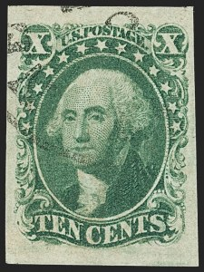 Sale Number 1150, Lot Number 580, 10c-12c 1851-56 Issue (Scott 13-17)10c Green, Ty. III (15), 10c Green, Ty. III (15)