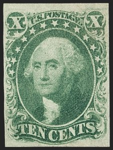 Sale Number 1150, Lot Number 582, 10c-12c 1851-56 Issue (Scott 13-17)10c Green, Ty. IV (16), 10c Green, Ty. IV (16)