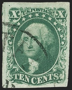 Sale Number 1150, Lot Number 585, 10c-12c 1851-56 Issue (Scott 13-17)10c Green, Ty. IV (16), 10c Green, Ty. IV (16)