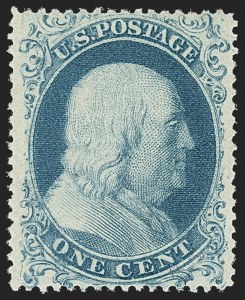 Sale Number 1150, Lot Number 589, 1c-5c 1857-60 Issue (Scott 18-30A)1c Blue, Ty. I (18), 1c Blue, Ty. I (18)