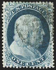 Sale Number 1150, Lot Number 591, 1c-5c 1857-60 Issue (Scott 18-30A)1c Blue, Ty. II (20), 1c Blue, Ty. II (20)