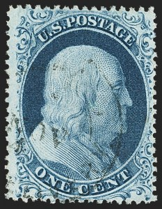Sale Number 1150, Lot Number 592, 1c-5c 1857-60 Issue (Scott 18-30A)1c Blue, Ty. II (20), 1c Blue, Ty. II (20)