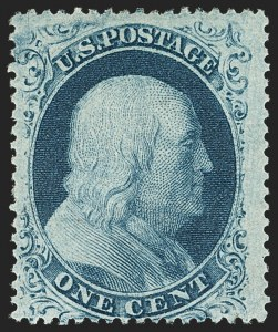 Sale Number 1150, Lot Number 593, 1c-5c 1857-60 Issue (Scott 18-30A)1c Blue, Ty. IIIa (22), 1c Blue, Ty. IIIa (22)