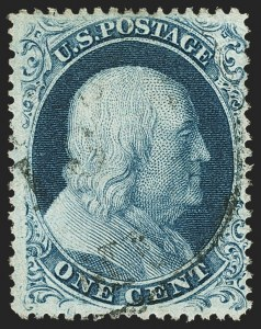 Sale Number 1150, Lot Number 594, 1c-5c 1857-60 Issue (Scott 18-30A)1c Blue, Ty. III (21), 1c Blue, Ty. III (21)