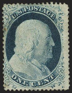Sale Number 1150, Lot Number 595, 1c-5c 1857-60 Issue (Scott 18-30A)1c Blue, Ty. IV (23), 1c Blue, Ty. IV (23)