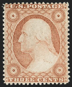 Sale Number 1150, Lot Number 599, 1c-5c 1857-60 Issue (Scott 18-30A)3c Dull Red, Ty. IV (26A). Mint N.H, 3c Dull Red, Ty. IV (26A). Mint N.H
