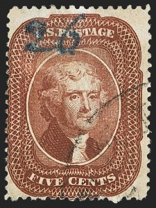 Sale Number 1150, Lot Number 605, 1c-5c 1857-60 Issue (Scott 18-30A)5c Bright Red Brown (28b), 5c Bright Red Brown (28b)