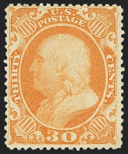 Sale Number 1150, Lot Number 626, 10c-90c 1857-60 Issue (Scott 31-39)30c Orange (38), 30c Orange (38)