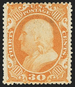Sale Number 1150, Lot Number 627, 10c-90c 1857-60 Issue (Scott 31-39)30c Orange (38), 30c Orange (38)