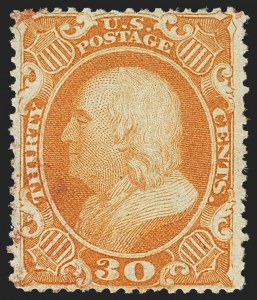 Sale Number 1150, Lot Number 628, 10c-90c 1857-60 Issue (Scott 31-39)30c Orange (38), 30c Orange (38)
