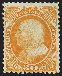 Sale Number 1150, Lot Number 645, 1875 Reprint of 1857-60 Issue (Scott 40-47)30c Yellow Orange, Reprint (46), 30c Yellow Orange, Reprint (46)