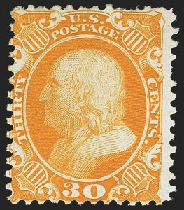 Sale Number 1150, Lot Number 646, 1875 Reprint of 1857-60 Issue (Scott 40-47)30c Yellow Orange, Reprint (46), 30c Yellow Orange, Reprint (46)