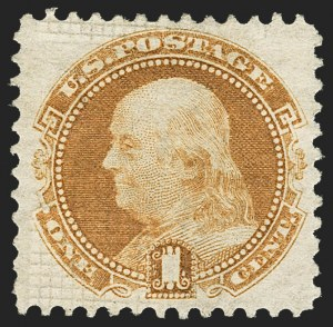 Sale Number 1150, Lot Number 709, 1c-24c 1869 Pictorial Issue (Scott 112-120)1c Buff, Split Grill (112 var), 1c Buff, Split Grill (112 var)