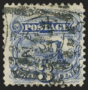 Sale Number 1150, Lot Number 744, 1875 Re-Issue of 1869 Pictorial Issue (Scott 123-133a)3c Blue, Re-Issue (125), 3c Blue, Re-Issue (125)