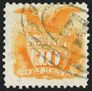 Sale Number 1150, Lot Number 748, 1875 Re-Issue of 1869 Pictorial Issue (Scott 123-133a)10c Yellow, Re-Issue (127), 10c Yellow, Re-Issue (127)