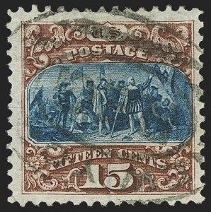 Sale Number 1150, Lot Number 751, 1875 Re-Issue of 1869 Pictorial Issue (Scott 123-133a)15c Brown & Blue, Re-Issue (129), 15c Brown & Blue, Re-Issue (129)