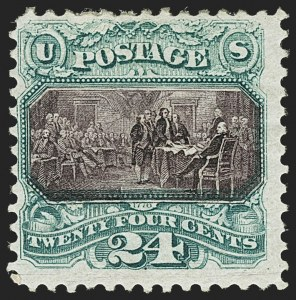 Sale Number 1150, Lot Number 753, 1875 Re-Issue of 1869 Pictorial Issue (Scott 123-133a)24c Green & Violet, Re-Issue (130), 24c Green & Violet, Re-Issue (130)