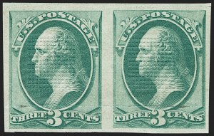 Sale Number 1150, Lot Number 770, 1870-71 National Bank Note Co. Grilled Issue (Scott 134-144)3c Green, H. Grill, Imperforate (136b), 3c Green, H. Grill, Imperforate (136b)