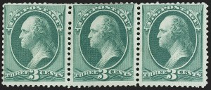 Sale Number 1150, Lot Number 786, 1873 Continental Bank Note Co. Issue (Scott 156-166)3c Green, With Grill, End Roller Grill (158e-158e-158e var), 3c Green, With Grill, End Roller Grill (158e-158e-158e var)