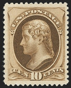 Sale Number 1150, Lot Number 809, 1879 American Bank Note Co. Issue (Scott 182-191)10c Brown, Without Secret Mark (187), 10c Brown, Without Secret Mark (187)